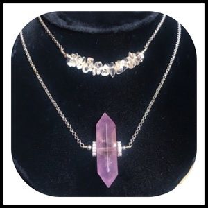 Double layer amethyst & crystal quartz necklace